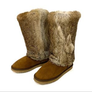 RARE UGG Tall Chestnut Boots With Fur Outside SZ 9